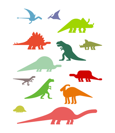 Dinosaur Set. Ancient animal. Diplodocus and Stegosaurus, Pterosaur. Ankylosaurus and triceratops. Styracosaurus and Iguanodon, Apatosaurus. Tyrannosaur and Panoplosaurus. Pterodactyl and Parasaurolophus. Ceratosaurus and Raptor. Dino prehistoric monster. Beast is Jurassic period. Vector illustration.