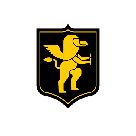 Griffin Shield heraldic symbol. Sign Animal for coat of arms. Vector illustration