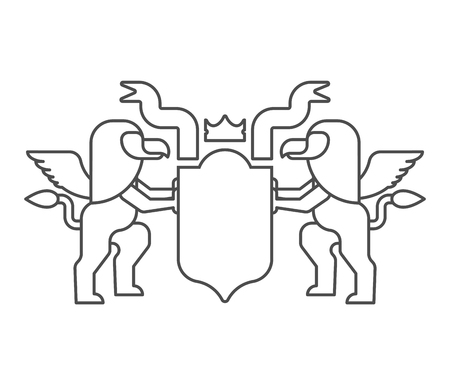 Griffin and Shield heraldic symbol. Sign Animal for coat of arms. Vector illustration Stock Illustratie