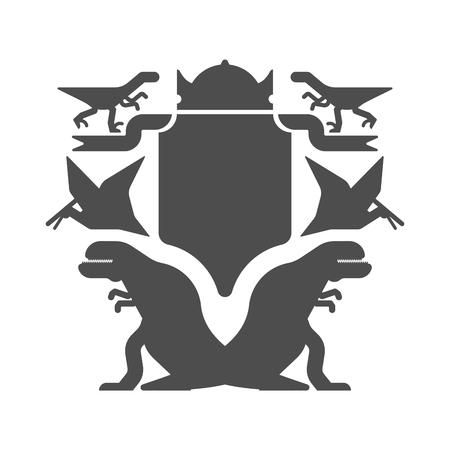 Dinosaur and Shield heraldic symbol. Dino Sign Prehistoric beast for coat of arms. Archeology sign. Vector illustration Illustration