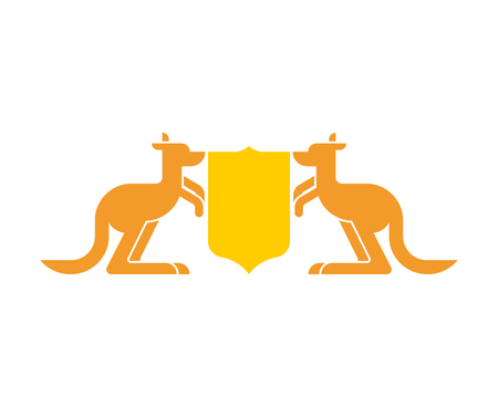 Kangaroo and Shield heraldic symbol. Australian Royal National Emblem. Australia coat of arms. Vector illustration