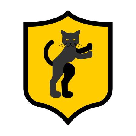 Cat Shield heraldic symbol. Sign pet for coat of arms. Royal kitten Vector illustration
