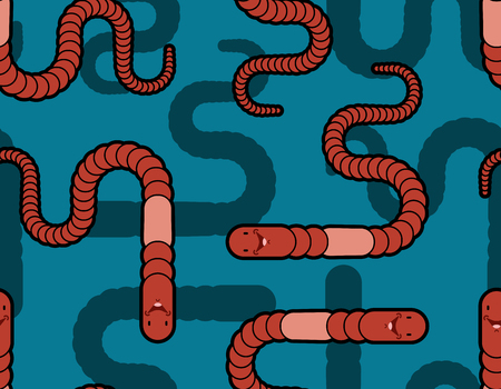 Earthworm pattern seamless. Earth Worm background. Vector illustration