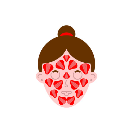 Woman face mask strawberry . Cosmetic procedures. Vector illustration