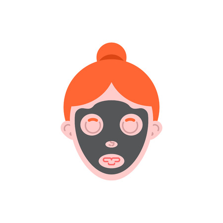 Woman face mask is dirt. Cosmetic procedures. Vector illustration