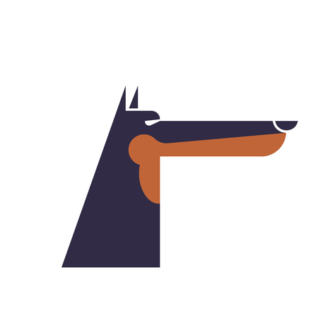 Doberman service dog protector. Pet Vector illustration