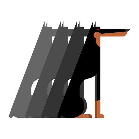 Doberman Flock dog protector. Pet Vector illustration