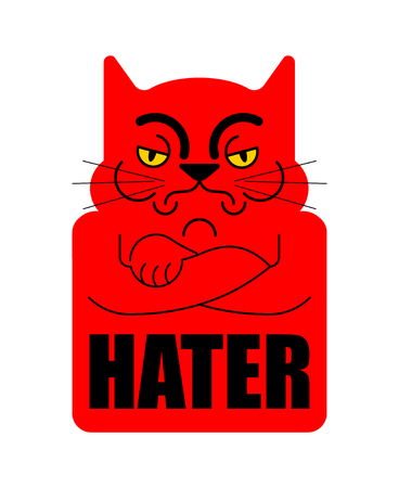 Hater Grumpy cat. Angry pet. Vector illustration
