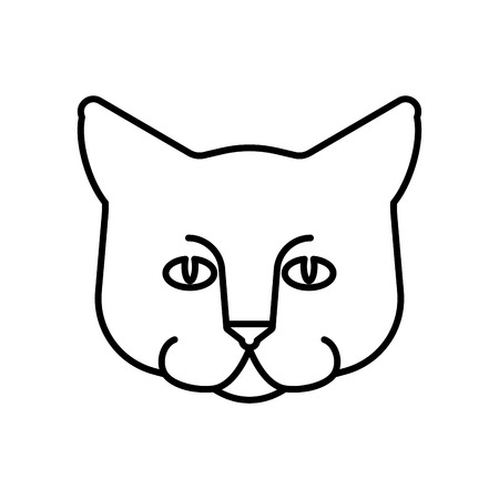 Cat face linear Style. Home pet Vector illustration
