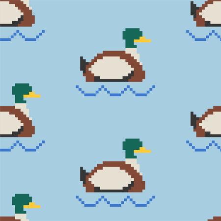 Drake pixel art pattern. Pond 8bit of texture. waterfowl bird background. Vector illustration Illustration