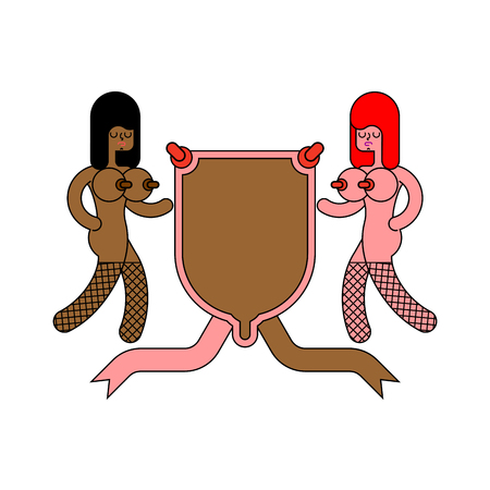 Prostitution symbol. Girl and Shield heraldic. Whore Sign for coat of arms. Vector illustration