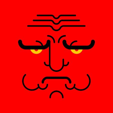 Grumpy face emoji isolated. Angry red head. Vector illustration Ilustração