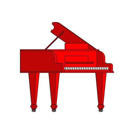 Red grand piano isolated. Musical instrument Vector illustration Ilustração