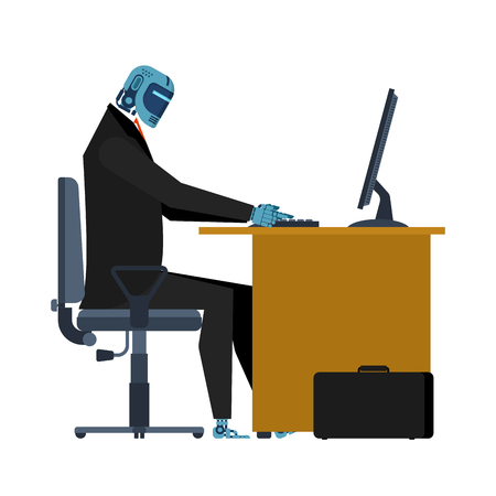 Cyborg at work in table. Office robot. Artificial Intelligence. Vector illustration Illustration