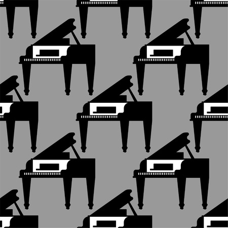 Grand piano pattern seamless. Musical background Vector illustration