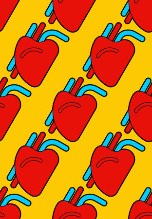 Heart human pattern seamless. Organ of man background. Vector illustration Illustration