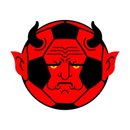 Soccer ball demon. ball Red devil. Vector illustration