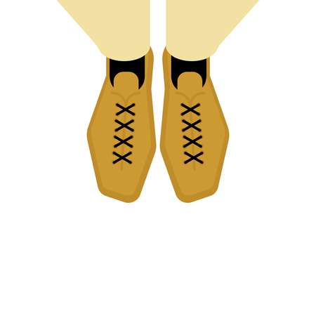 Men Legs in shoes top view. Vector illustration