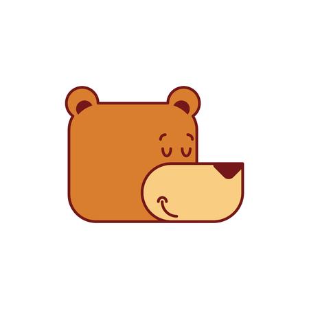 Bear sleep face. Wild beast sleep head. Vector illustration