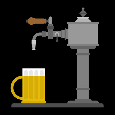 Beer tap and mug. Bartender equipment. Alcohol is bottled. Vector illustration Illustration