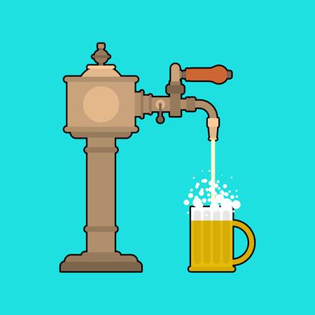 Beer tap and mug. Bartender equipment. Alcohol is bottled. Vector illustration 矢量图像