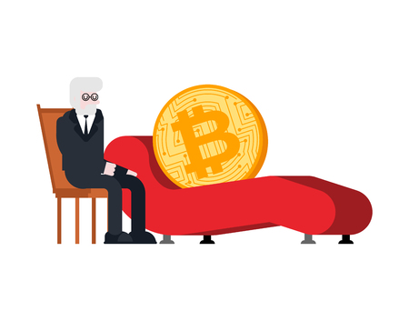 Bitcoin Reception of psychotherapist. Crypto currency and psychologist. Vector illustration.