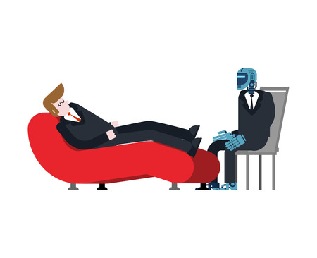 Robot psychologist. Man Reception of Cyborg  psychotherapist. Vector illustration. Vectores
