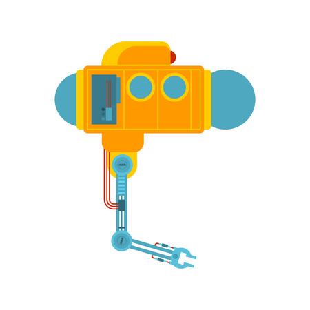 Bathyscaphe manipulator mechanical hand. Research under water. Underwater  industrial technology/ Vector illustration