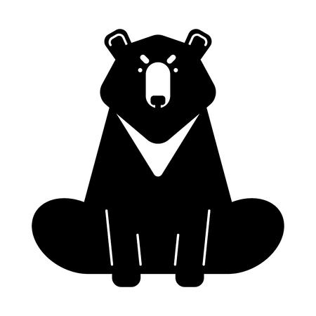 Baribal American Bear isolated. Wild predator of USA. Vector illustration Illustration
