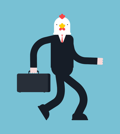 Boss chicken. Businessman  rooster. cock manager. Vector illustration.