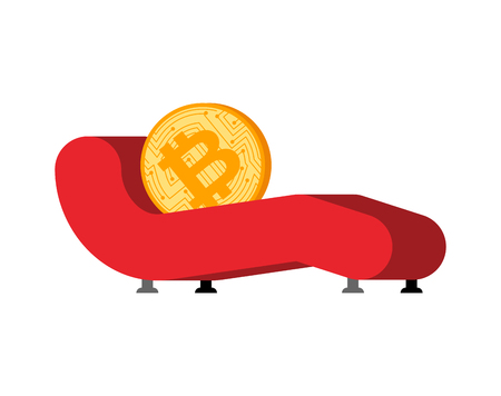 Bitcoin Reception of psychotherapist. Crypto currency and Sofa psychologist. Vector illustration.