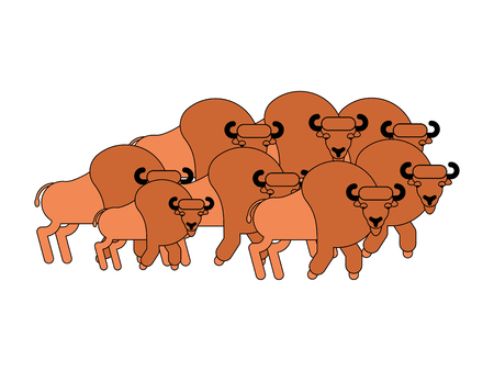 Bison herd. Aurochs flock. Wild Bull. Buffalo Vector illustration