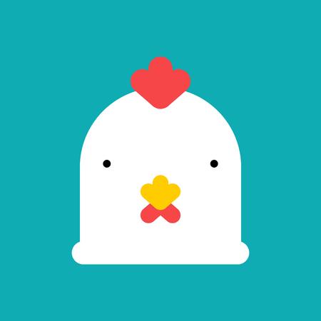 Masque tête de poulet. Visage d'oiseau de ferme blanc. Illustration vectorielle. Vecteurs
