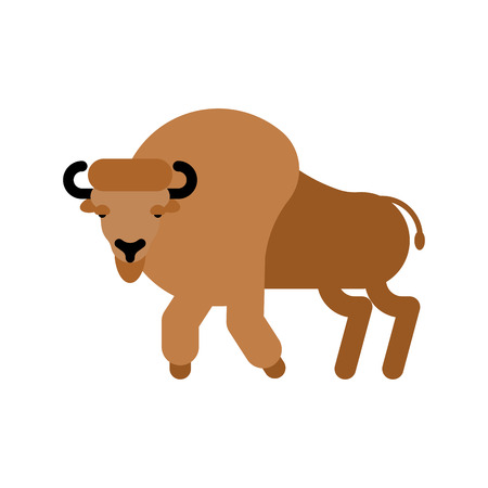 Bison isolated. Aurochs Zubr. Wild Bull. Buffalo Vector illustration  イラスト・ベクター素材