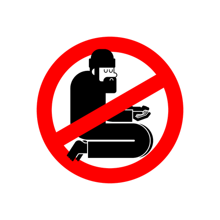 Stop Homeless. Ban Beggars. Red prohibitory road sign. No Poor. Not bum hobo. Vector illustration