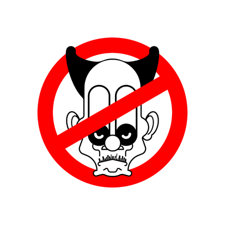 Stop scary clown. Ban circus. Red prohibitory road sign. Vector illustration