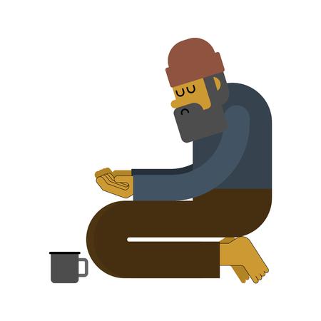 Homeless isolated. Beggars, Poor. bum hobo Vector illustration Illustration