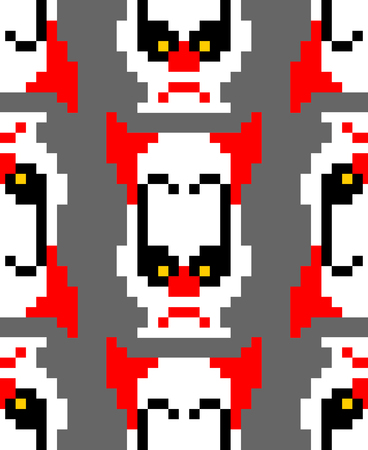 Scary clown pixel art pattern. 8 bit background. Digital nightmare ornament Vector