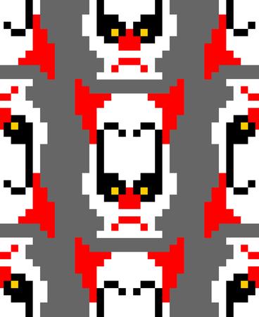 Scary clown pixel art pattern. 8 bit background. Digital nightmare ornament Vector