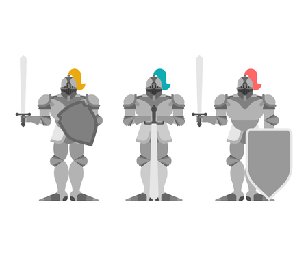Knight set. Metal armor warrior. Iron armor. Plate and sword. Vector illustration