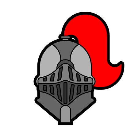 Helmet Knight isolated. Head Metal armor warrior. Iron armor.  Vector illustration