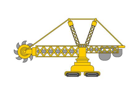 Bucket wheel excavator isolated. Rotary Excavator Heavy equipment  Vector illustration