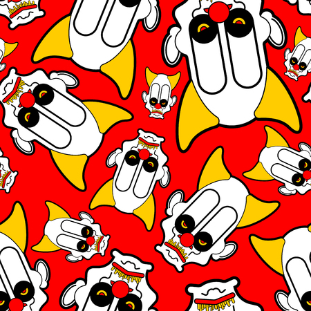 Scary clown pattern seamless. Terrible ornament. nightmare background Vector 矢量图像