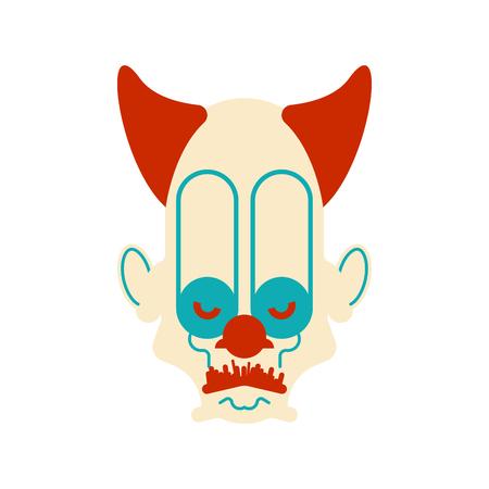 Scary clown evil head. Terrible eyes. Vector illustration 向量圖像