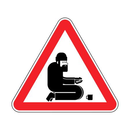 Attention Homeless. Danger Beggars. Red Caution road sign Poor. bum hobo Vector illustration Vektorgrafik