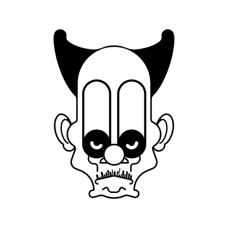 Scary clown evil head. Terrible eyes. Vector illustration Иллюстрация