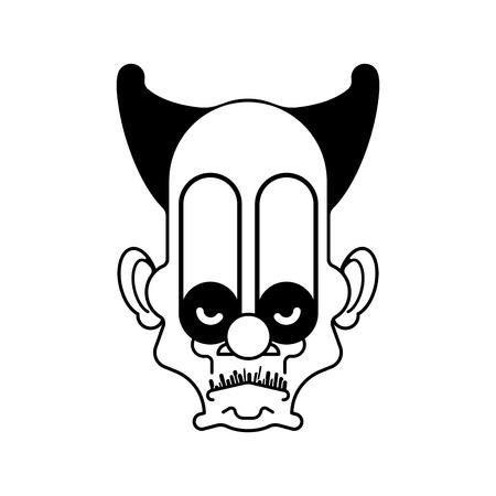 Scary clown evil head. Terrible eyes. Vector illustration Illustration