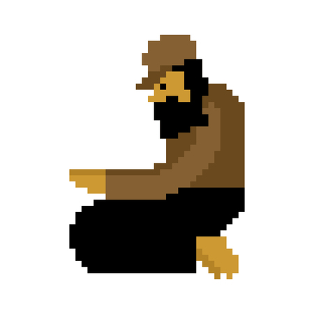 Homeless pixel art. Beggars 8 bit. digital Poor. bum hobo Vector illustration