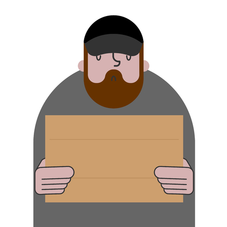 Homeless and cardboard. Beggars and blank plate, Poor. bum hobo Vector illustration Illustration