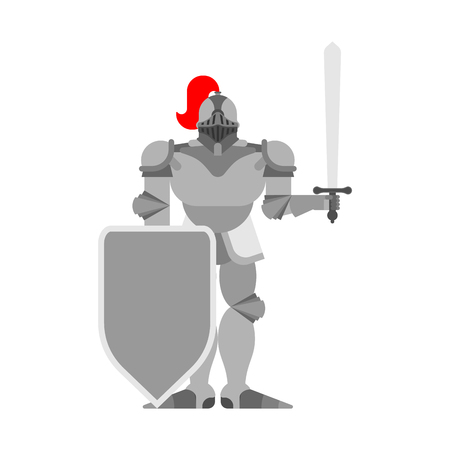 Knight isolated. Metal armor warrior. Iron armor. Plate and sword. Vector illustration